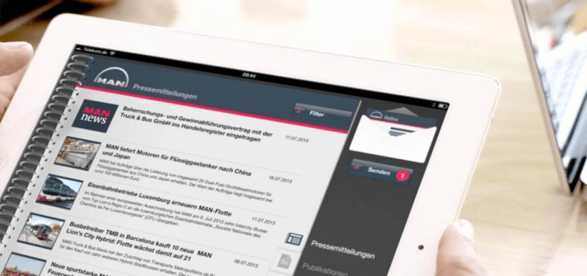 MAN News App auf iPad