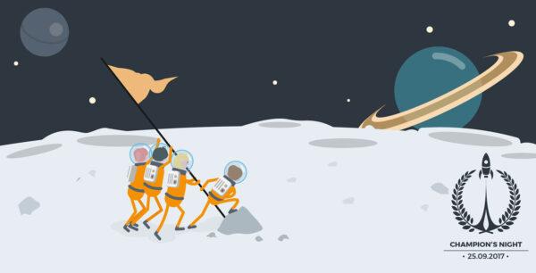 Illustration einer Mondlandung
