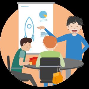 Präsentation Illustration mit drei Leuten