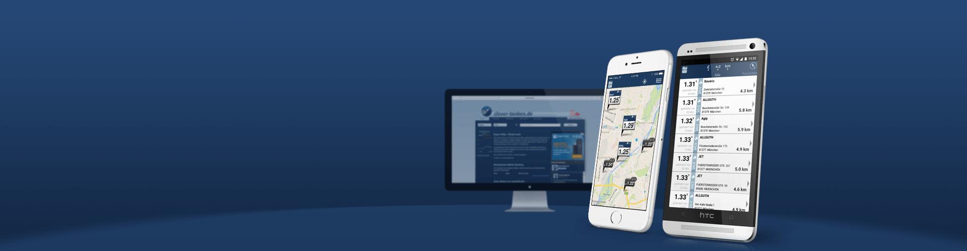 Iphone HTC und Bildschirm mit Clever-Tanken Mockup