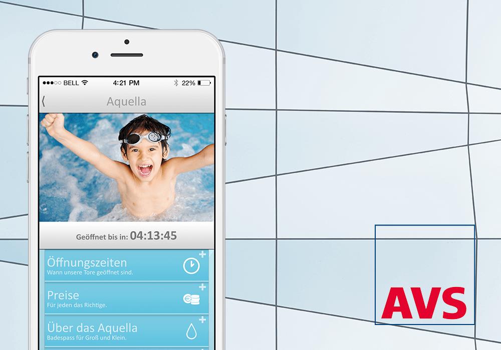 App für Stadtwerke auf iPhone und Avs Logo