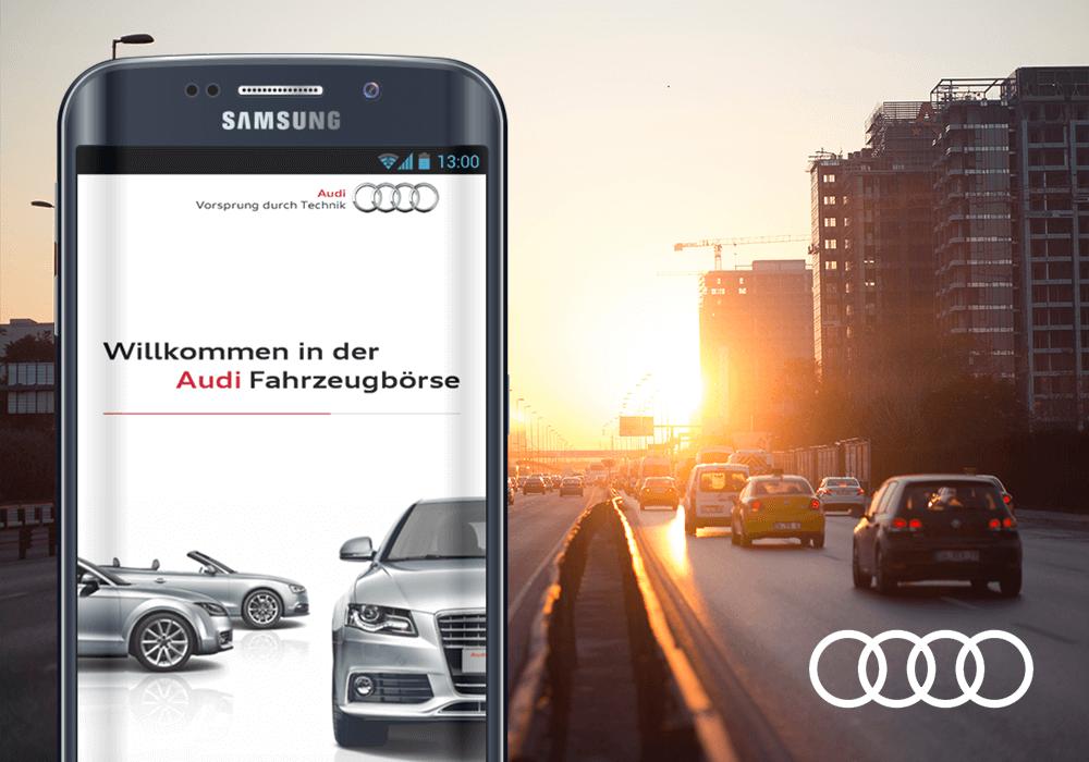 Audi Börsen App auf Smartphone Audi logo Straße mit Fahrenden Fahrzeugen