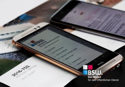 BSW Der Vorteil für den Öffentlichen Dienst Logo und App auf HTC Smartphone Katalog im hintergrund