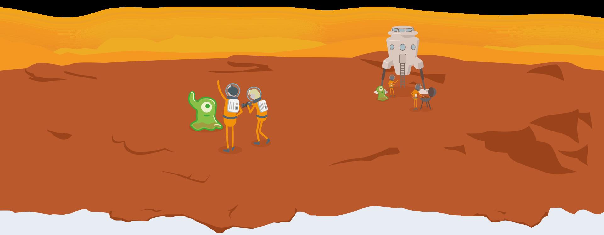 Illustrierte Szene mit Aliens und Astronauten auf dem Mars