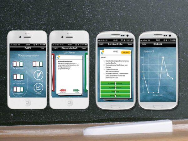 Board App Prüfungsvorbereitung auf Smartphones Kreidetafel im Hintergrund