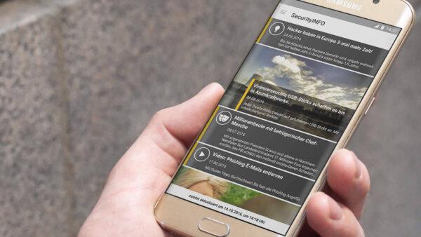 B2B SecurityInfo App Screen auf Samsung Smartphone
