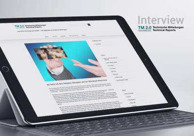 Interview TM 2.0 Teschnische Mitteilungen Technical Reports Logo und Artikel Bericht auf iPad mit Tastatur