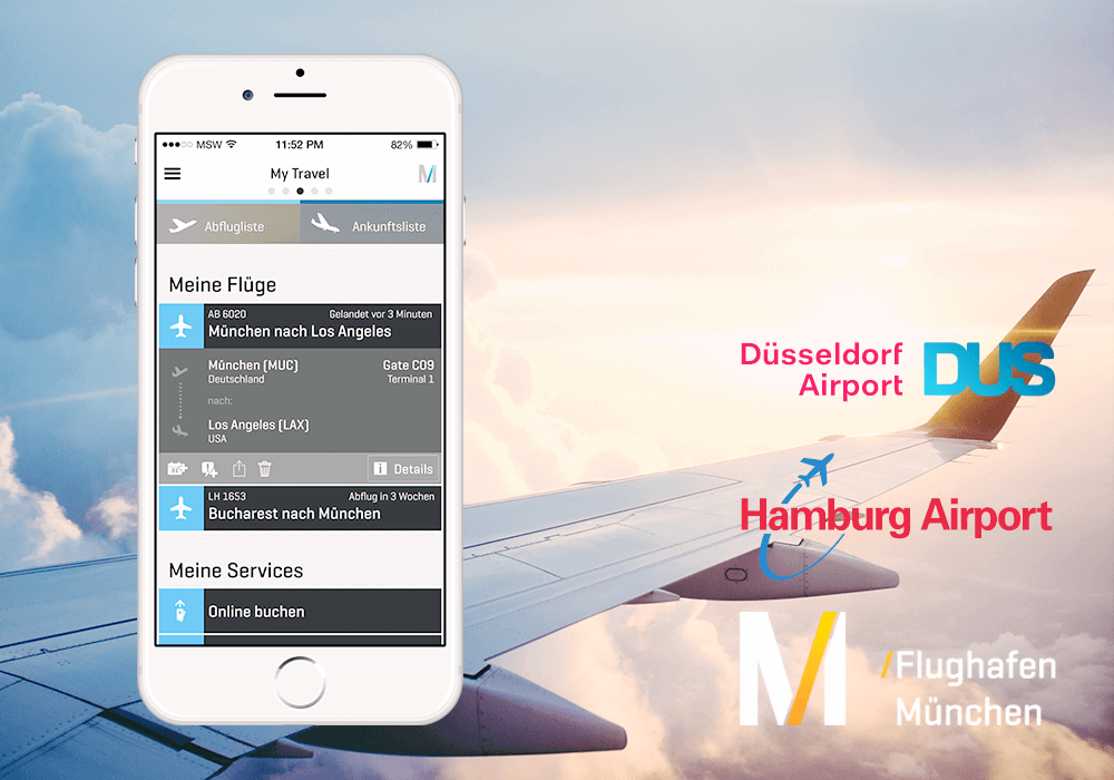 Flughafen München Logo Hamburg Airport Logo Düsseldorf Airport Logo Passngr App Mockup auf iPhone