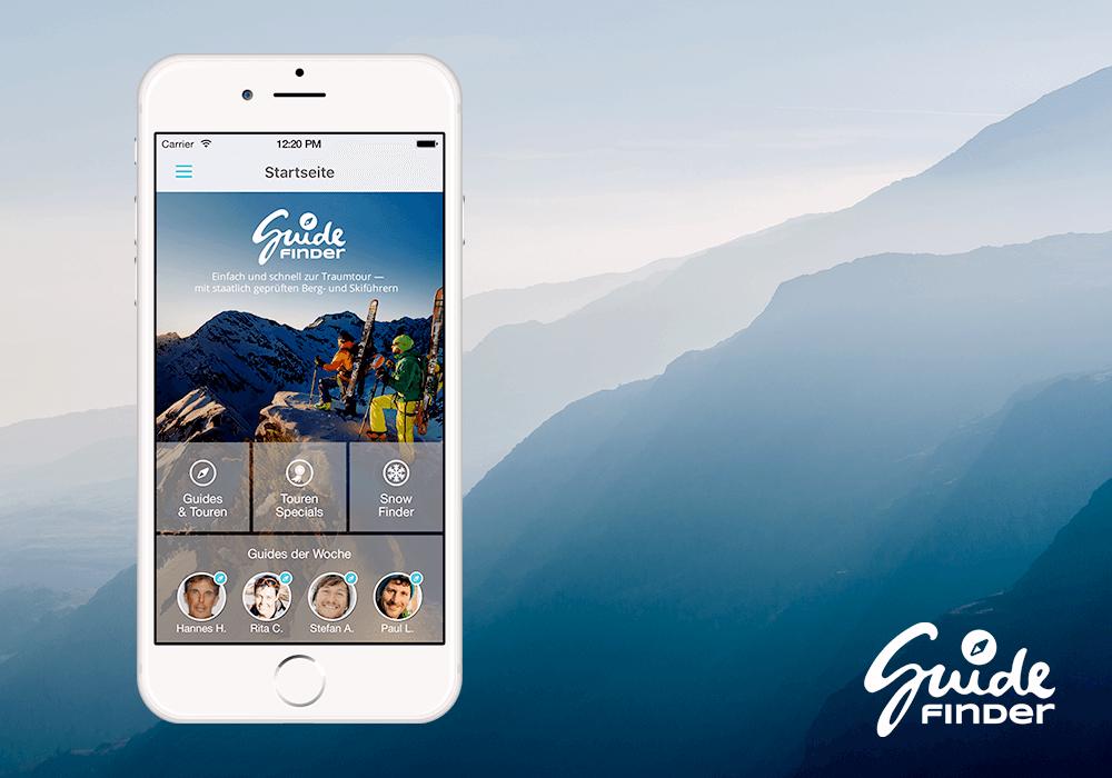 Guidefinder App und Logo auf iPhone mit Bergen im Hintergrund