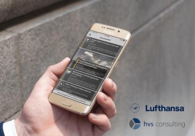 Lufthansa logo Security Info App auf Smartphone in einer Hand