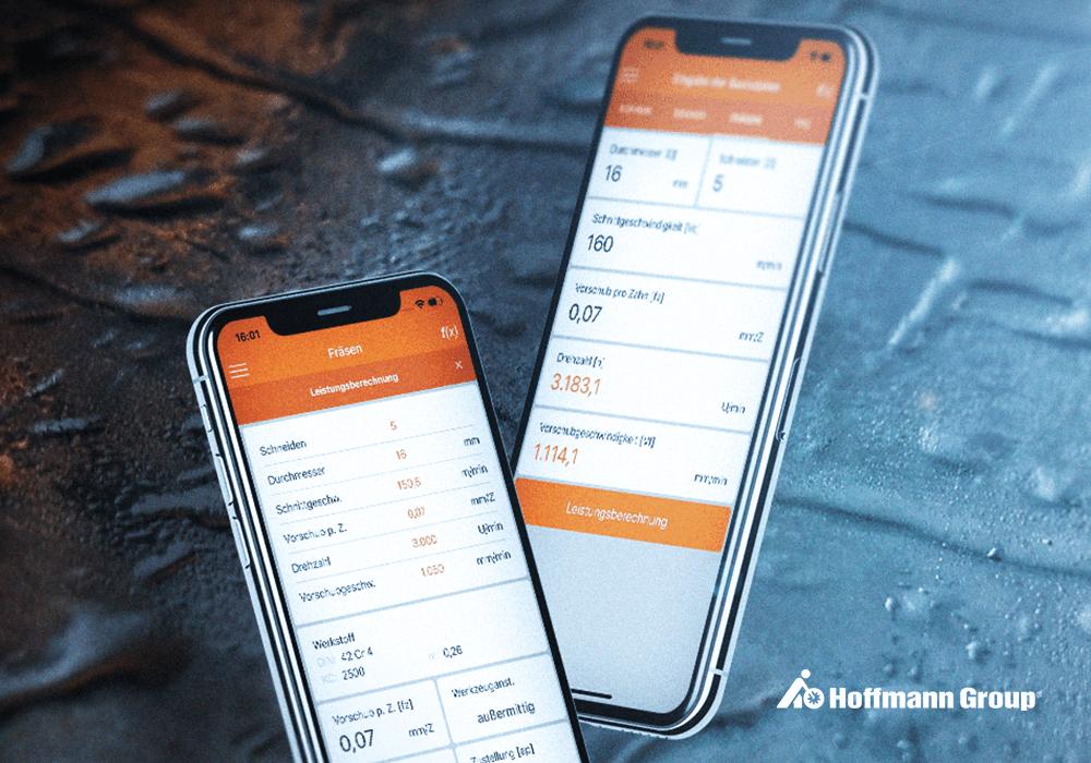 Beitragsbild HoffmannGroup Zerspanungsrechner App auf iPhone X vor metallenem Hintergrund