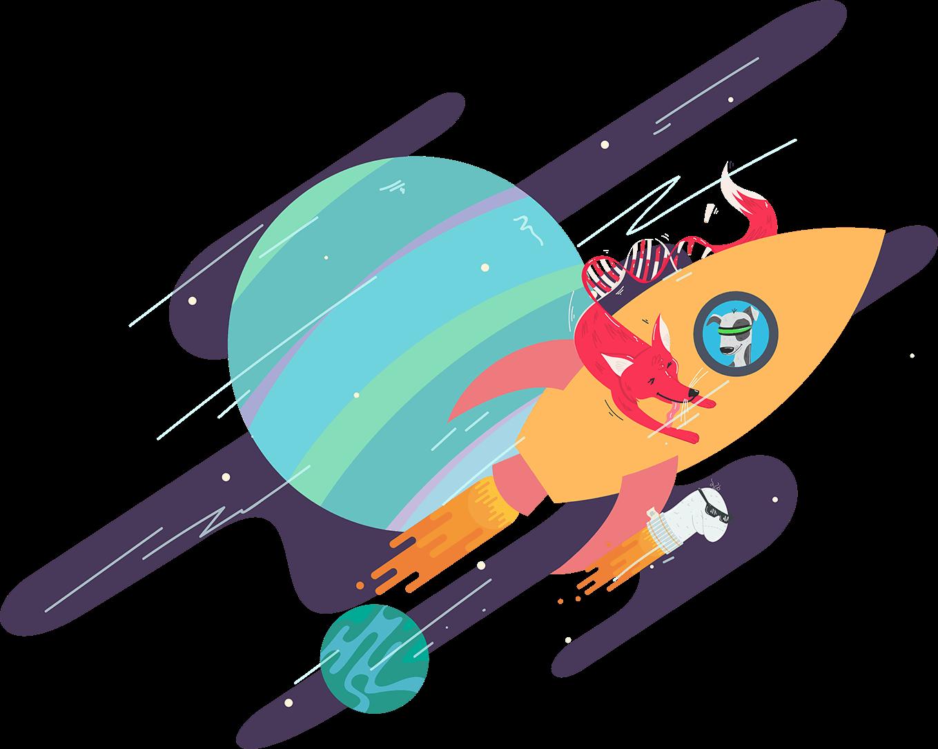 Mobile Software Team Rakete auf der Reise in neue Welten