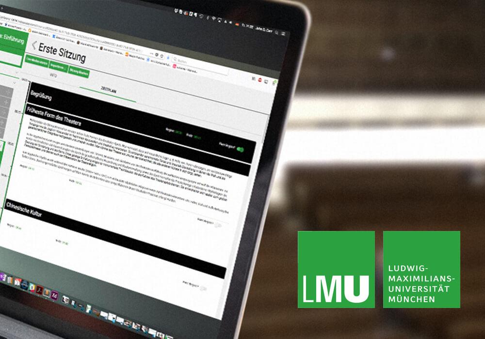 LMU Logo Laptop mit LMU Zeitplaner Web App