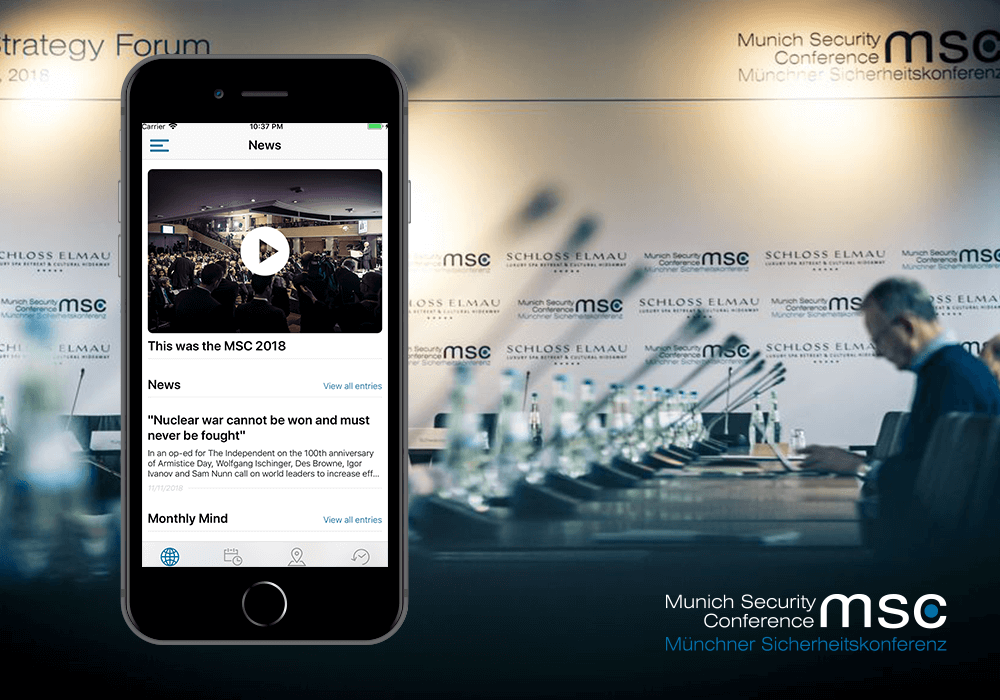 Munich Security Conference MSC App iPhone Mockup Teaser