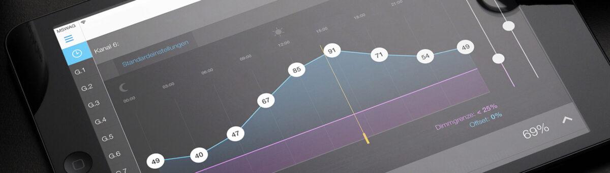 Mangelberger Lichtsteuerungs App auf iPad
