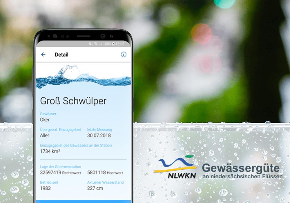 NLKWN Gewässergüte Logo und App auf Smartphone