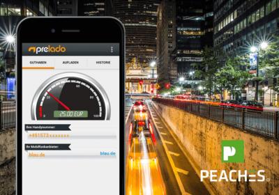 Peaches Logo, Bahnhof im Hintergrund, Prelado App auf iPhone