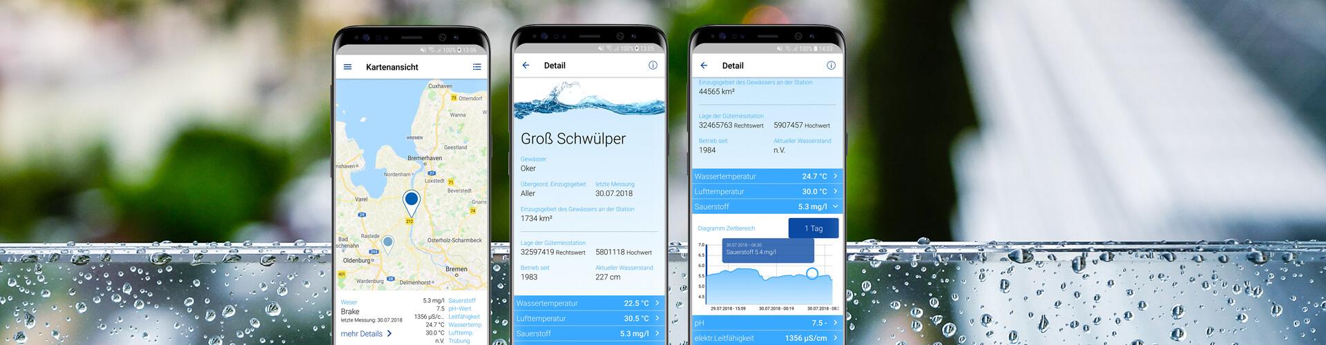 NLKWN Gewässergüte App auf drei Smartphones