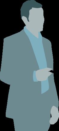Illustration von einem Mann mit USB-Stick in der Hand