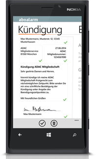 Aboalarm Kündigungs Screen auf Windows Phone