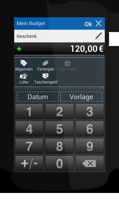 Mein Budget App Rechner Screen auf Smartphone