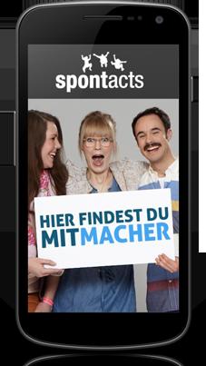 Spontacts App Screen Hier findest du Mitmacher auf Smartphone