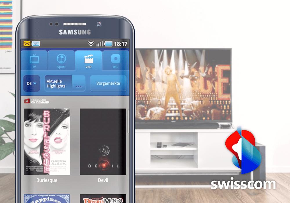 Swisscom Logo, Im Hintergrund TV, TV-Guide App auf Samsung Smartphone