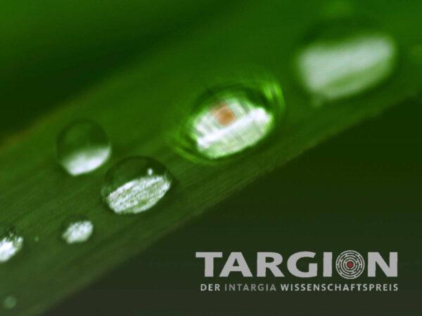 Targion Logo Wassertropfen auf Grashalm