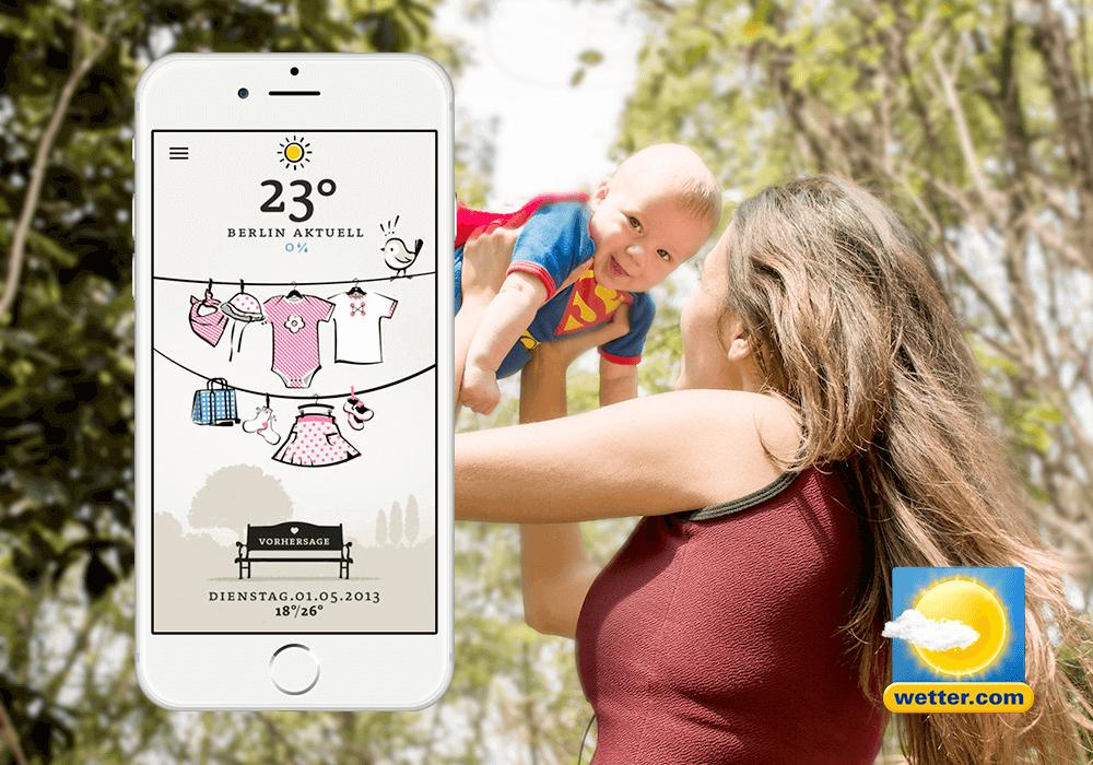 Baby-Wetter App auf Iphone , Frau mit Baby im HIntegrund, Wetter.com logo
