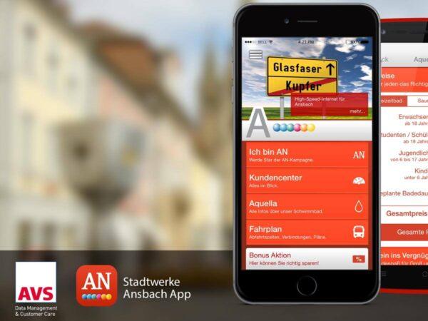 Stadtwerke Ansbach App auf iPhone AVS logo Stadtwerke Ansbach Logo App