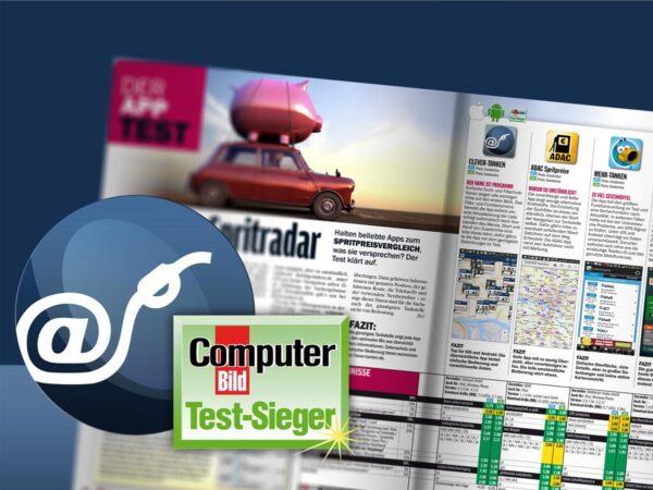Clever tanken logo computer bild test sieger logo zeitschrift im hintergrund