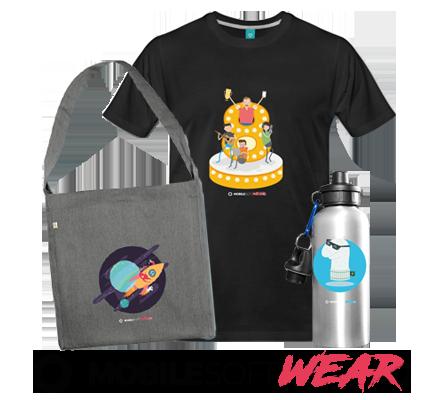 Mobile SoftWEAR Collection mit Tasche T-shirt und Flasche