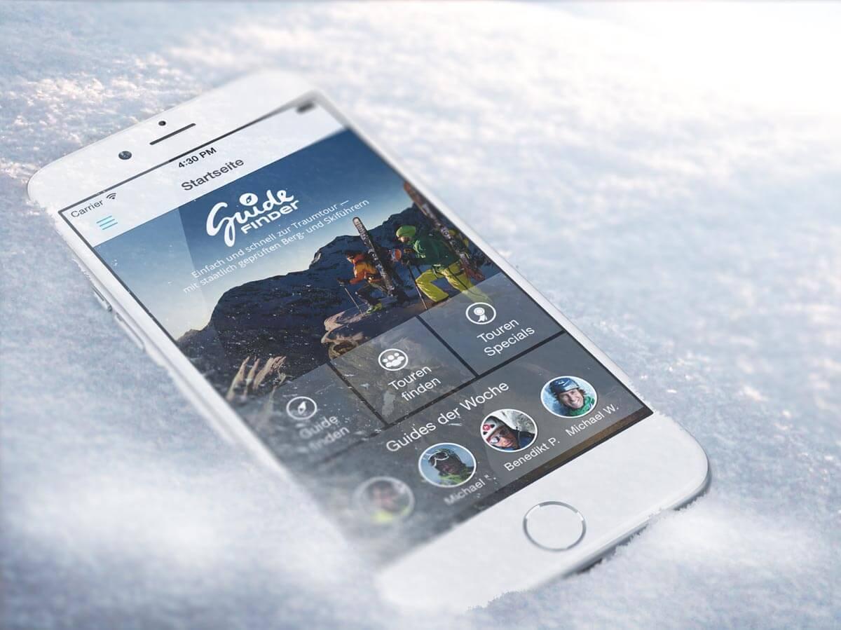 Guidefinder App auf Iphone in Schnee