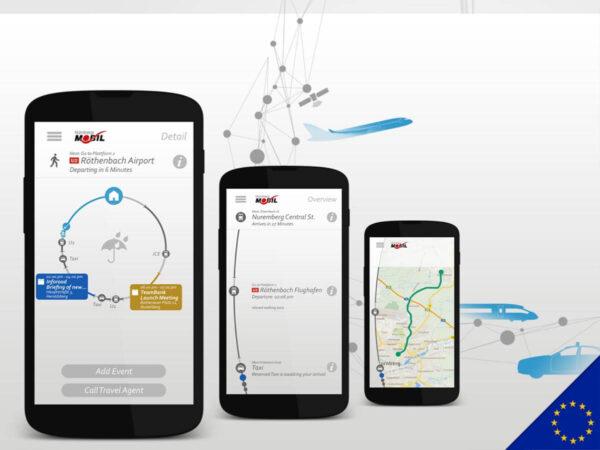 Nürnberg Mobil App auf Smartphones mit Illustrierten Flugzeugen im Hintergrund