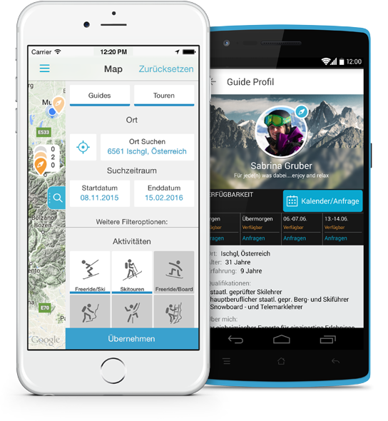 Guidefinder App auf zwei Smartphones