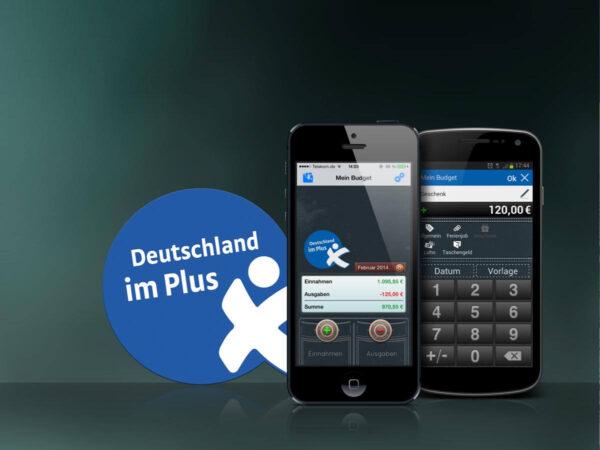 Mein Budget App auf iPhone und Smartphone Slogan: Deutschland im Plus