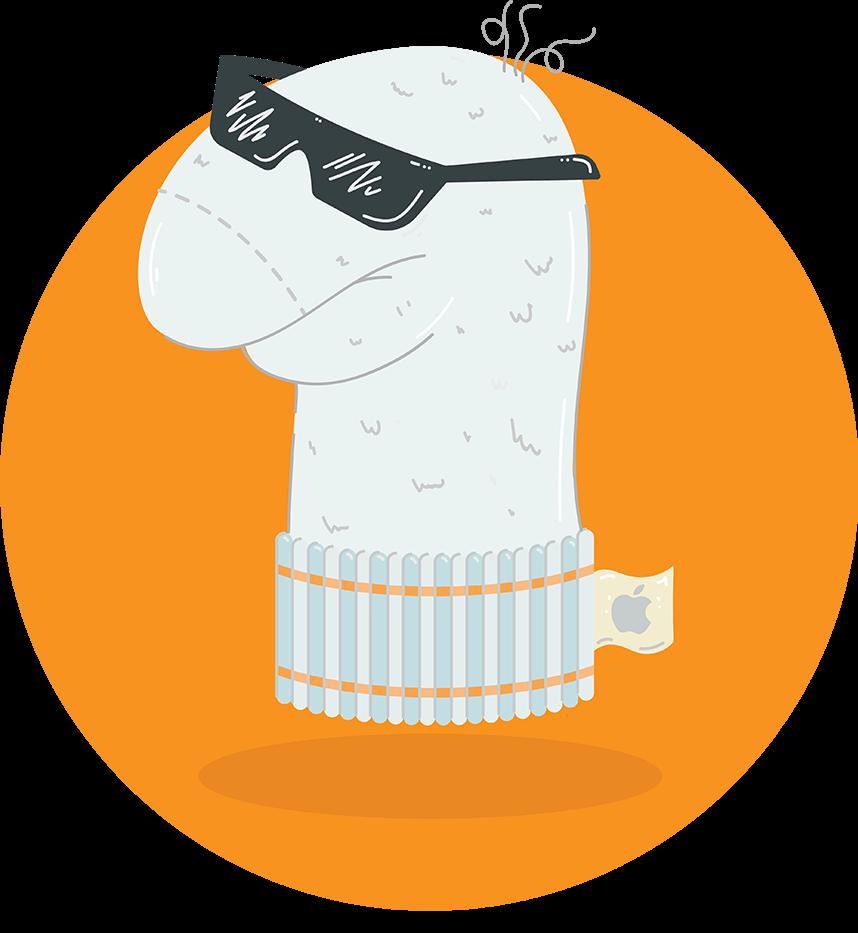 Socke mit Sonnenbrille Illustration